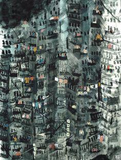 Nicholas Stevenson - Painting - Colourful - Surreal - Folk - Editorial - Publishing - Acrylic - Wate...