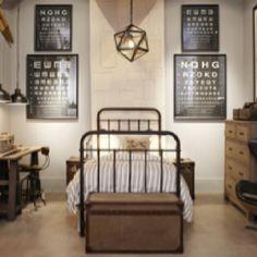 Rautasänky (jälleen tumma) keskellä huonetta ja kirstu sängyn päässä Neutral rustic boy's room
