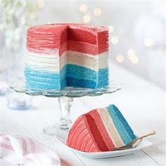 RED, WHITE AND BLUE OMBRE CAKE