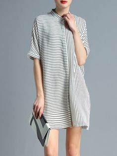 Shop Mini Dresses - White Shift Work Stripes Shirt Dress online. Discover unique designers fashion at StyleWe.com.