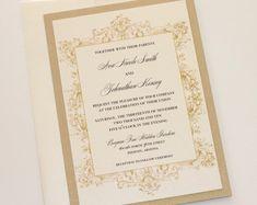 Vintage Wedding Invitations - Elegant Wedding Invitation - Flourish Ornate Invitation - Rustic Wedding Invitation - Ivory Gold - Ava Sample