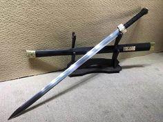 "Han sword(Damascus steel bade,Black scabbard,Brass fittings)Length 41"" Dragon Sword, Ninja Sword, Types Of Swords, Blade And Soul, Tactical Pocket Knife, Engraved Pocket Knives, Best Pocket Knife, Brass Fittings, Cold Steel"