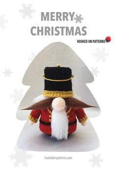 Christmas Nutcracker outfit for Santa Gonk. The outfit is a free crochet pattern, but you do need the Gank base also. #Christmas #Xmas #ChristmasDIY Nutcracker Christmas, Christmas Diy, Merry Christmas, Xmas, Free Crochet, Crochet Hats, Crochet Patterns, Santa, Crafts