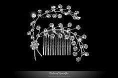 CRYSTAL FLORAL SPRAY HAIR COMB | BRIDAL FLOWER RHINESTONE HAIR COMB | BELOVED SPARKLES – WEDDING HAIR COMB FLORIDA » Beloved Sparkles | Bridal Wedding Hair Accessories | Cubic Zirconia Jewelry