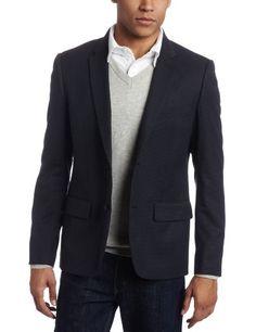 Navy blazer with dark wash jeans