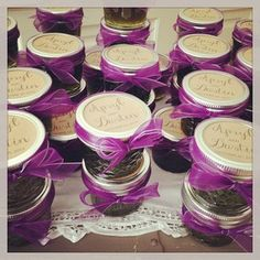vintage wedding favors | mason jar favors | wedding favors |  Love this idea…filled with ??????