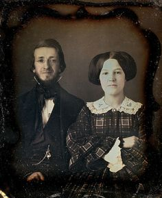 Couple with woman in a tartan dress 1/6th-Plate Daguerreotype, Circa 1854
