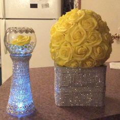 Sparkle sparkle! Turquoise Centerpieces, Crystal Centerpieces, Bridal Shower Centerpieces, Bling Wedding, Wedding Events, Wedding Bouquets, 60 Wedding Anniversary, Anniversary Parties, Anniversary Centerpieces
