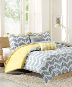 Yellow Nadia Comforter Set, gray and lemon color trend