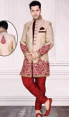 Personify classiness wearing this beige brocade embroidered men's sherwani. The interesting fancy embellishments, lace, patch and resham work a significant feature of this attire. Brocade might vary from actual image.  #GroomWeddingDesignerSherwaniCollection