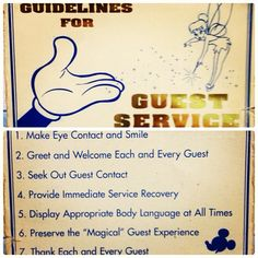Disney guidelines for guest service.