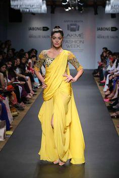 Yellow sari by Arpita Mehta. LFW 2014