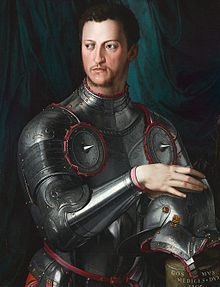 Cosimo I de' Medici (12 June 1519 – 21 April 1574) was Duke of Florence from 1537 to 1574, reigning as the first Grand Duke of Tuscany from 1569.
