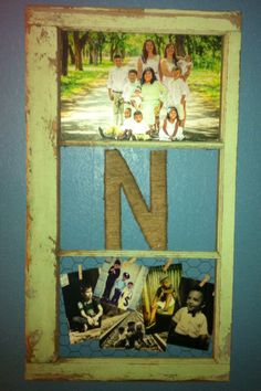 Repurposed old window frame