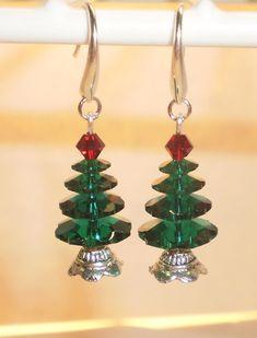 Swarovski Crystal Christmas Tree Earrings Silver. $15.00, via Etsy.