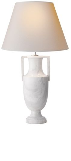 Table Lamps, Designer White Marble Greek Urn Lamp, from InStyle Decor Beverly Hills