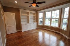 Study, Library, Built In's, Bookcase, Bay Window Hardwood Flooring. Foreman Builders custom built.