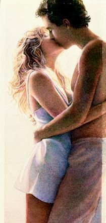Steve Hanks is recognized as one of the best watercolor artists working today. The detail, color and realism of Steve Hanks' painting. Watercolor Artists, Watercolor Paintings, Kiss Painting, Hyper Realistic Paintings, Romance, Portraits, Couple Art, Female Images, American Artists