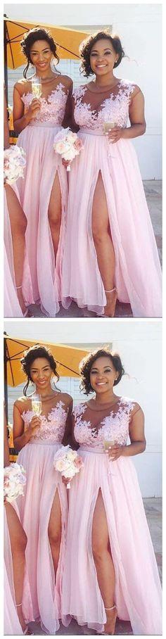 Lace Appliqued Sexy Bridesmaid Dress,Pink Bridesmaid Dresses,Long