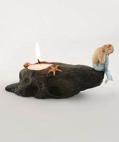 Another great find on #zulily! Mermaid Resting on Stone Tealight Holder #zulilyfinds