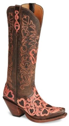 Tony Lama Signature Series Embroidered Hearts Cowgirl Boots - Snip Toe - Sheplers
