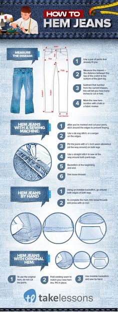 How to Hem Jeans: A Step-by-Step Guide for Beginners [Infographic] | How to alter clothing | Hemming jeans | Free sewing tutorial