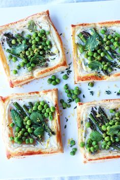 spring tarts with asparagus, peas, and mint.