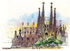 Urban Sketchers: James Richards. A fantastic time in Barcelona: La Sagrada Familia Watercolor Landscape, Watercolor Art, Barcelona Spain Travel, James Richards, City Sketch, New Architecture, Painter Artist, Sketch Inspiration, Urban Sketchers