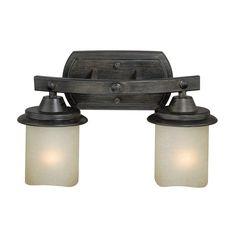 Cascadia Lighting Halifax 2-Light 8.75-in Black Walnut Cylinder Vanity Light