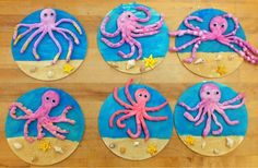 crayola model magic clay octopus on wood with sand