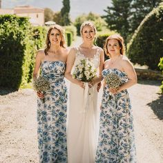 """e5c7e47f110 Matchimony on Instagram  """"Our bride Erica had a Italian summer wedding and  had her heart set on a blue floral dress for her bridesmaids."""