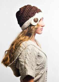 Knit Hat Brown Womens Hat - Hybrid Swirl Cloche Hat in Coconut Cream and Brown Knit Hat - Brown Hat Cream Hat Womens Accessories Winter Hat