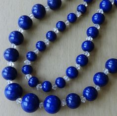 Vintage Royal Blue Graduated Glass Bead Necklace