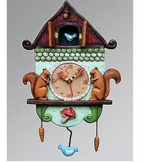 A Unique Gift Idea from ArtCraftGifts - Allen designs clock ''cuckoo bird'' hand painted resin art wall clock with pendulum