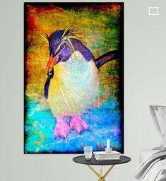 Künstlerische Darstellung eines Felsenpinguins auf einem flachen Stein Illustration, Night, Artwork, Animals, Pictures, Rocks, Digital Art, Canvas Frame, Photo Wallpaper
