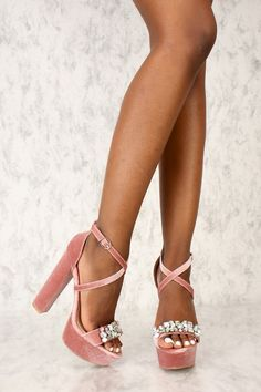 5c88df65dd5 Sexy Blush Gemstone Accent Platform Chunky High Heels Faux Velvet. High  Heel Pumps ...