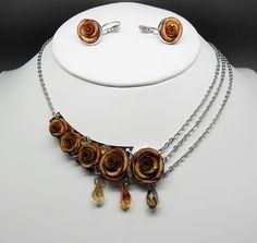 mariage : parure rose marron et dormeuses avec perles swarovski de la boutique bout2bijoux sur Etsy