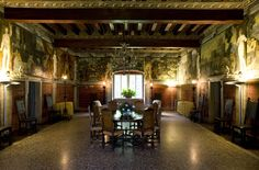Villa Margon - salon of Charles V where we had our sit-down lunch. Note the fabulous frescoes on the walls #FerrariTrento