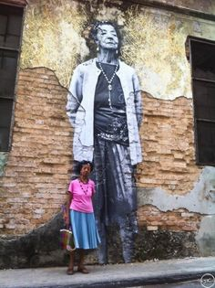In May 2012, JR collaborates with Cuban-American artist José Parlá on the latest iteration of The Wrinkles of the City: a huge mural installation in Havana, undertaken for the Havana Biennale, for which JR and Parlá photographed and recorded 25 senior citizens who had lived through the Cuban revolution, creating portraits which Parlá, who is of Cuban descent, interlaced with palimpsestic calligraphic writings and paintings.