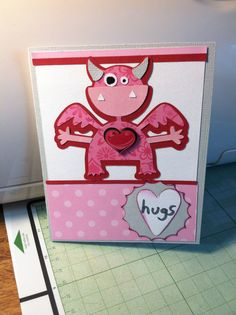 Valentine made with Cricut Mini Monster cartridge.