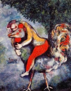 Marc Chagall, Rooster, oil on canvas (Museo Thyssen-Bornemisza, Madrid) Marc Chagall, Artist Chagall, Chagall Paintings, Art Beauté, Art Sur Toile, Illustration, Jewish Art, Manet, Cubism