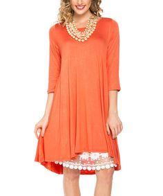 Look what I found on #zulily! Orange Hi-Low Dress - Plus Too #zulilyfinds