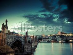 Czech Republic, Prague, Stare Mesto (Old Town), Charles Bridge, Hradcany Castle and St. Vitus Cathe Landscapes Photographic Print - 61 x 46 cm