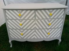 The chevron trend has been around for a while now, but I still love it. My chevron chairs are one of my most favorite saves ever. Chevron Dresser, Striped Dresser, Yellow Dresser, Vintage Dressers, Old Dressers, Painted Dressers, Vintage Chest, Dresser Drawers, Furniture Makeover