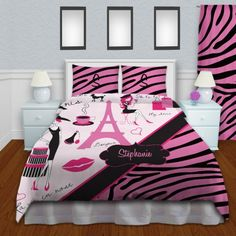 Pink and Black Kids Zebra Print Bedding, Girls Paris themed Bedding #14…