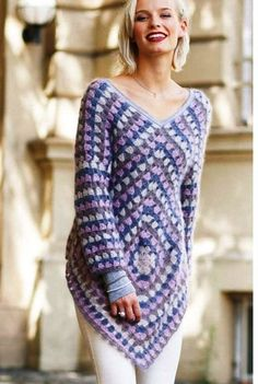 27 Tunic Dress To Copy Today - Fashion New Trends this pin was discovered by Crochet Quilt, Crochet Tunic, Crochet Granny, Crochet Clothes, Knit Crochet, Diy Crafts Knitting, Diy Crafts Crochet, Diy Dress, Crochet Fashion