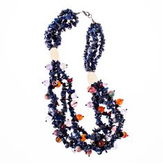 Lapis Lazuli & mixed gemstones multi-strand necklace from Wanderlust Jewels LLC for $300.00