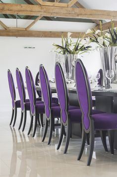purple velvet and black chairs + black table | for the home