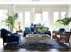 British Colonial Style - 7 steps to achieve this style. Find out how to create this classic look which is the basis of modern day Hamptons and Caribbean style and also has elements of contemporary style with the botanical and greenery trend. Blue Rooms, Blue Living Room, Interior Design, House Interior, Home, Interior, British Colonial Decor, Living Decor, Colonial Furniture