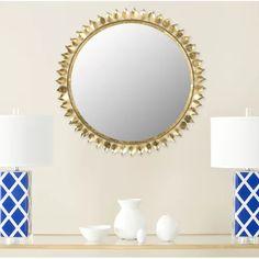 Dipamkar ® Large Antique Light Gold Sunburst Métal Décoratif Miroir mural H80cm